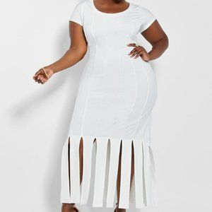 18/20 ASHLEY STEWART Carwash hem WHITE maxi dress